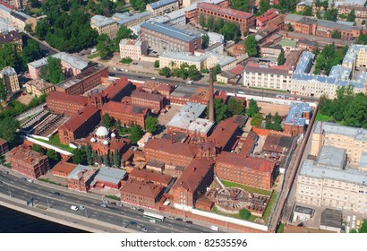 Birdseye view of the historic Kresty prison in Saint Petersburg, Russia
