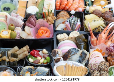 """A bird's-eye view of Japanese traditional food """"Osechi"""". New Year, celebration, traditional food, culture image"""