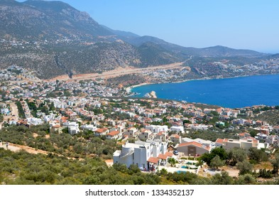 Bird's-eye view view in Kalkan Town of Turkey. Kalkan is an important location for tourism with its sea, harbor, boat tour, seafood, souvenir and nature.