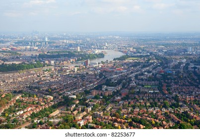 Birdseye view of London suburbs