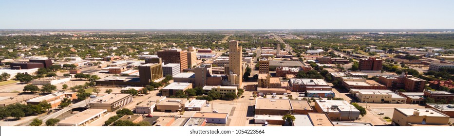 A birdseye view of Lubbock Texas downtown city skylines, buildings and streets