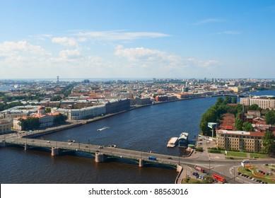 Birdseye view of Malaya Neva river in Saint Petersburg, Russia