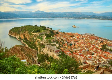 Bird's-eye view of Nafplion center, a greek town at Peloponnese peninsula. Photo taken from the Palamidi castle