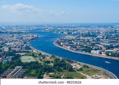 Birdseye view of Neva river and central areas of Saint Petersburg, Russia
