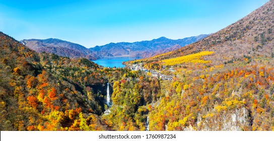 A bird's-eye view of Nikko Japanese national park, Lake Chuzenji and the Kegon waterfall in autumn colors - Shutterstock ID 1760987234