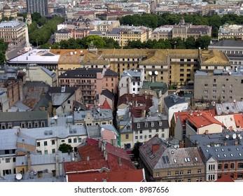 bird's-eye view of old town (Riga, Latvia)