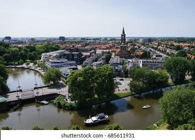 A bird's-eye view on Leeuwarden, the Netherlands