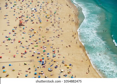 Bird's-eye view on Nazare beach riviera on the coast of Atlantic ocean near Nazare town. Portugal