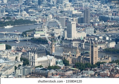 Birdseye view of the Parliament and Westminster Abbey in the center of London, UK