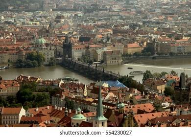The bird's-eye view of Prague center