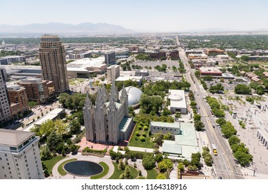 A bird's-eye view of Salt Lake City, Utah