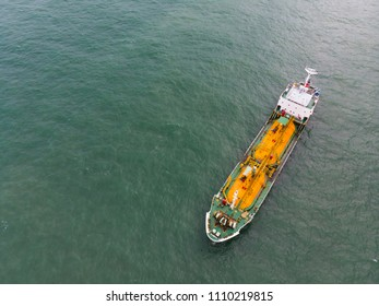 Bird's-eye view of sea freight, Crude oil tanker lpg ngv at industrial estate Thailand / Crude Oil tanker to Port of Singapore - import export around in the world