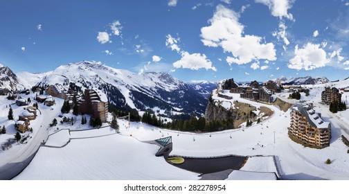 360° Bird's-eye View of Ski Area in Avoriaz, France