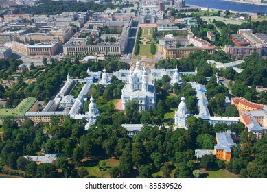 Birdseye view of Smolny convent in Saint Petersburg, Russia