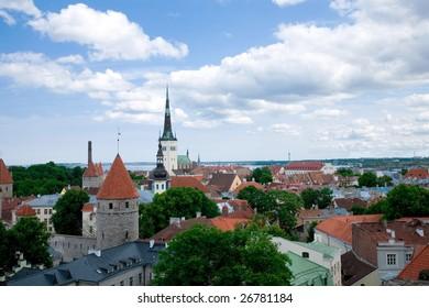 a bird's-eye view of Tallinn`s center