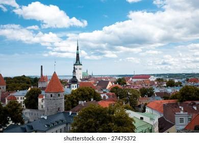bird's-eye view of Tallinn`s center