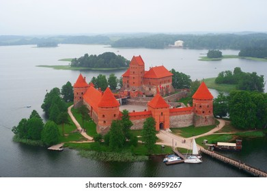 Birdseye view of Trakai castle, Lithuania
