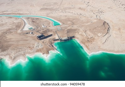 Birdseye view of the waterworks on Dead Sea, Israel