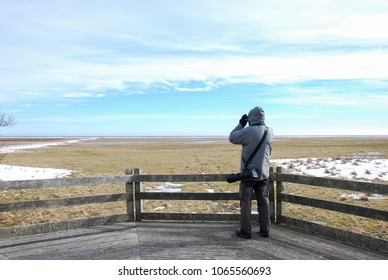 Birdwatcher on a wooden platform by the great grassland at Ottenby at the swedish island Oland in the Baltic Sea