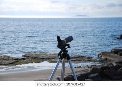Birdwatching gear by the coast of the swedish island Oland in the Baltic Sea