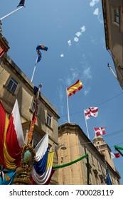 Birgu, MALTA - 20 aug,2017:maltese feast with street decoration and celebrating maltese people in Birgu, Malta. People of Malta are celebrating sant dominic religion feast, Malta,editorial