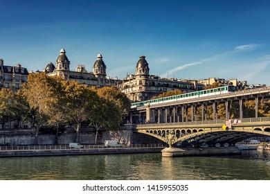Bir-Hakeim bridge during the day  in Paris