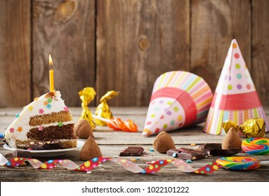 birhday cake on wooden background