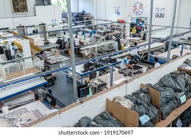 Birigui, São Paulo, Brazil, April 15, 2015. Production line children's shoes industry in Birigui, Sao Paulo state