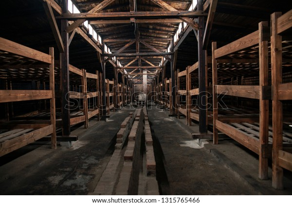 Birkenau, Poland/February 10, 2019 ; Bunks of prisoners in the barracks of the concentration camp. A building with prisoners' beds. Bedroom of the concentration camp.Auschwitz-