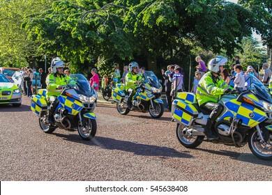Birkenhead, United Kingdom - May 2, 2013 : Police Bikes keeping streets safe during olympic torchbearer run