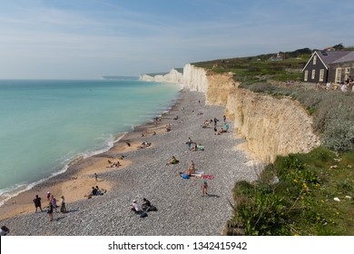 BIRLING GAP, EAST SUSSEX, ENGLAND, UK-APRIL 21ST 2018: Beautiful spring weather was enjoyed by visitors to Birling gap beach near Seven Sisters, East Sussex, on Saturday 21st April 2018
