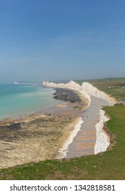 Birling gap and the Seven Sisters white chalk cliffs and beach East Sussex England UK beautiful British coastline