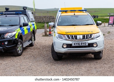 Birling Gap, Sussex, UK. 20th May 2019. HM Coastguard & Royal Navy Bomb Disposal team are deployed after the discovory of an unexploded shell at the foot of Beachy Head