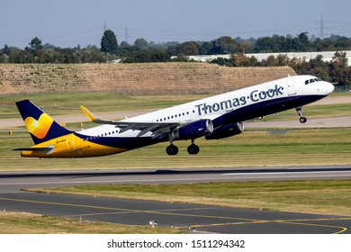 Birmingham Airport (BHX), England, 20th September 2019, Thomas Cook passenger aircraft G-TCVB an Airbus A321 takes off safely from the airport.