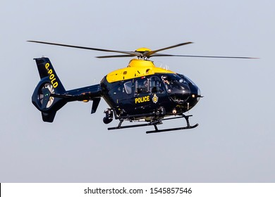 Birmingham Airport (BHX), England, 29th October 2019, Police Helicopter G-POLD (PLOD) a Eurocopter EC135 visits the airport.
