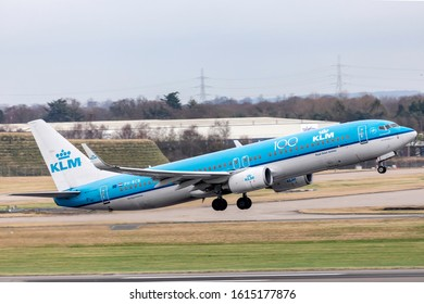 Birmingham Airport (BHX), England, 5th January 2020, KLM passenger aircraft, PH-BCB, a Boeing 737 – 8K2 takes off from the airport.