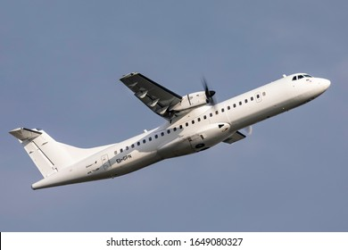 Birmingham Airport (BHX), England, 7th February 2020, Stobart Air passenger aircraft EI-GPN an ATR 72 takes off from the airport.