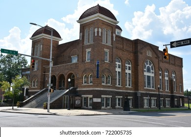 BIRMINGHAM, AL - JUL 23: 16th St Baptist Church in Birmingham, Alabama, seen on July 23, 2017. Now a National Historic Landmark, the church is known for the tragic racially motivated bombing in 1963.
