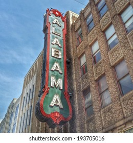 BIRMINGHAM, ALABAMA - APRIL 29: Alabama Theatre April 29, 2014 in Birmingham, AL. Built by Paramount in 1927, it is the sole surviving venue in a once prominent theater district