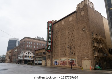 Birmingham, Alabama - Feb 17, 2019:  The new west side sign on the Alabama Theater during rain on a cold, winter day.