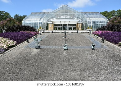 BIRMINGHAM, ALABAMA - JUL 23: Conservatory at Birmingham Botanical Gardens in Alabama, as seen on Jul 23, 2017. The gardens are home to over 12,000 different types of plants.