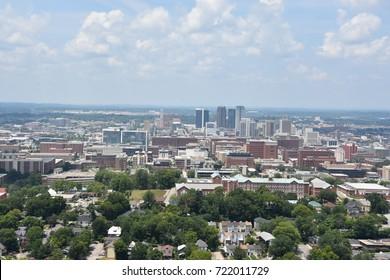 BIRMINGHAM, ALABAMA - JUL 23: View of Birmingham, Alabama, from Vulcan Park, as seen on July 23, 2017.
