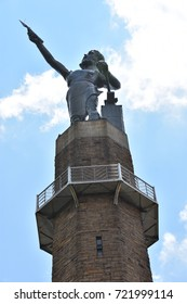 BIRMINGHAM, ALABAMA - JUL 23: Vulcan, the largest cast iron statue in the world, in Birmingham, Alabama, seen on July 23, 2017. The completed weight of the god Vulcan's figure alone is 100,000 pounds.