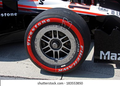 Birmingham Alabama USA - April 10, 2011: Firestone Racing tire, official tire of Indycar. Red sidewall soft compound