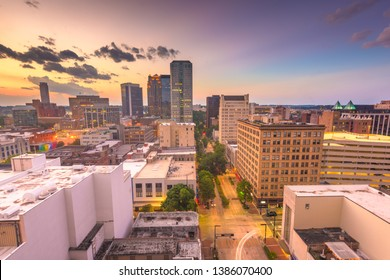 Birmingham, Alabama, USA downtown city skyline at dusk. -
