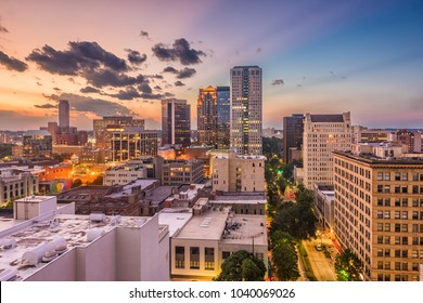 Birmingham, Alabama, USA downtown cityscape at dusk.