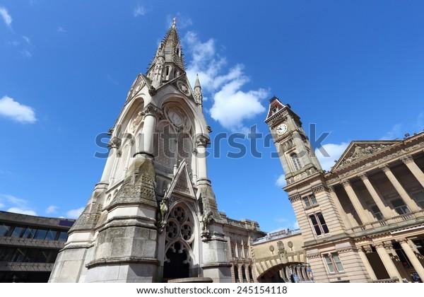 Birmingham - Albert Memorial and Museum and Art Gallery with famous Big Brum clock tower. West Midlands, England.
