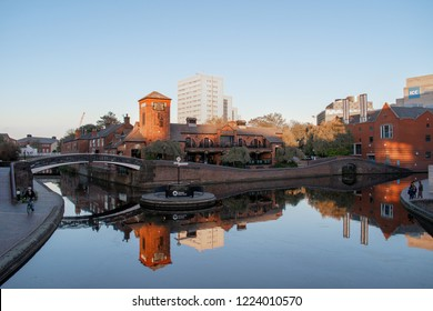 Birmingham canal view in city center at sun down, Nov 1, 2018 - Birmingham UK