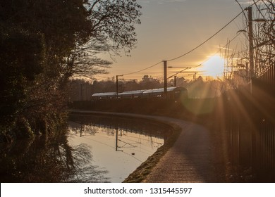 Birmingham canal view sunset time