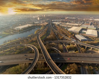 Birmingham city centre and spaghetti junction at sunrise